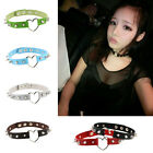 New Women Sexy Punk Style Goth Rivet Heart Ring Leather Collar Choker Necklace