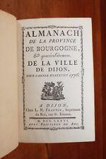 1776 Dijon Bourgogne Almanach Bibliophilie Reliure Superbe Grands noms fonctions