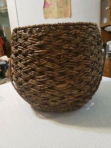 "NEW Threshold Seagrass Storage Basket W/ Handle Handcrafted 15"" H x 18"" Diameter"