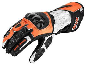 Motorradhandschuhe von XLS Lederhandschuhe Orange Schwarz Weiß Gr. S bis 3XL