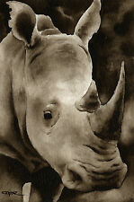 Rhino Rhinocerous Art Print Sepia 11 x 14 by Watercolor Artist DJR