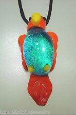Lampwork Dichroic Color Glass Hawaiian Manualoha Tropical Parrot Pendant Adj #1