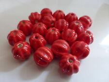 5 X Rojo De Porcelana De Cerámica Calabaza granos 13mm X 12mm, Porcelana cuentas Halloween