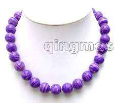 "14mm Round Dark Purple Stripe Agate Necklace for Women Chokers 18"" Jewelry n5742"