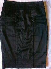 Black heavy satin victorian steampunk pin up pencil skirt S DETAILS!! LOOK