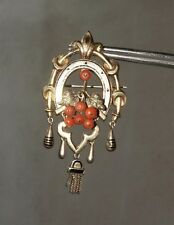 Antique Victorian 18Kt Gold Black Enamel coral Horseshoe Pendant Brooch