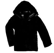 LADIES PLAIN BLACK WATERPROOF WINDPROOF JACKET hiking kagool coat womens 8-28