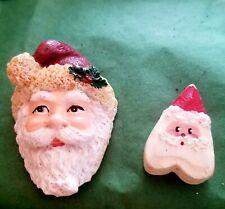 2 Vintage Collectible Santa pin faces need backs Both marked + free gift
