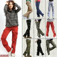 SKYLINEWEARS Women's Cargo Pants Solid Military Army Styles Cotton Trousers