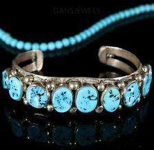 Vintage Navajo Sterling Old Pawn Row Natural KINGMAN Turquoise MENS Bracelet