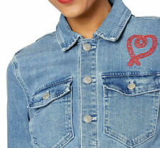$98 J CREW MERCANTILE EMBROIDERED HEART STRETCH CROPPED JEANS-DENIM JACKET 2XL