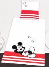 Bettwäsche Mickey Mouse weiß/rot - 135 x 200cm - Baumwolle Renforcé - Micky Maus