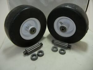 (2) Exmark Walk Behind 1-513648 Flat Free Solid Tire Front Caster Wheel 9x3.50-4