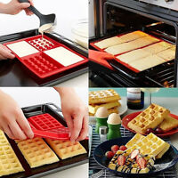 Silicone Waffle Shaped Baking Mould Pan Cake Chocolate Cookie Bake Mold DIY PF