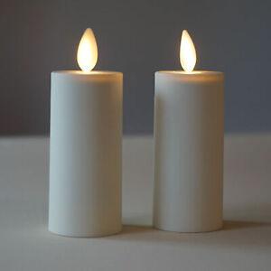 Luminara Flameless Moving Flame Votive LED Candles Ivory with Timer Set of 2