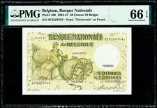 Belgium 50 Francs - 10 Belgas 28.04.1947 Pick-106 GEM UNC PMG 66 EPQ