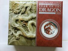 2012 Australia 1/2 Oz Year of the Dragon Lunar II Colored Proof Silver Coin