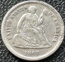 1863 S Seated Liberty Half Dime 5c Higher Grade VF San Francisco Rare #15537