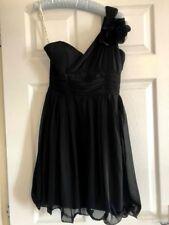SIZE 10 LITTLE MISTRESS BLACK ONE SHOULDER PROM PARTY CORSAGE CHIFFON LBD DRESS
