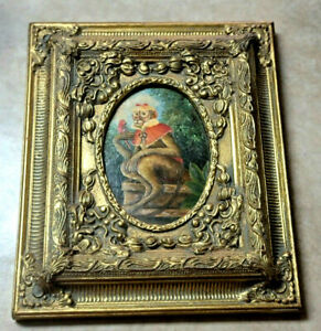 Robert Grace original oil painting Monkey with Parrot Gold frame