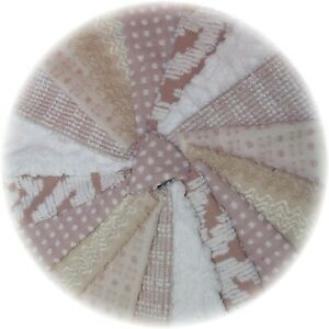Vintage Chenille Bedspread Quilt Fabric Square Block DIY Kit 18 Taupe Tan Beige