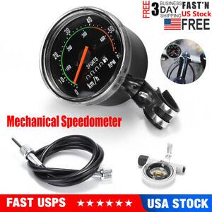 Bicycle Bike Speedometer Analog Mechanical Odometer With Hardware Vintage Style
