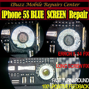 iPhone 5S BLUE SCREEN iTunes Error 9 14 long wrong screw U6 IC REPAIR SERVICE