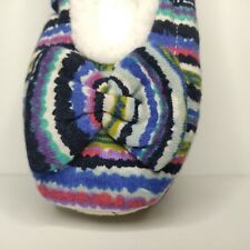Snoozies Slippers Women's Size Small 5-6 Boho Stripe Blue Green Ballerina