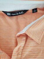Travis Mathew Mens Golf Polo Short Sleeve Shirt Poly Pima Cotton Peach Large