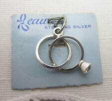 Vintage Beau Sterling Silver 3D Wedding Engagement Ring Band Set Charm on Card
