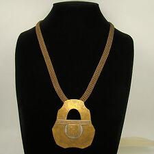 Marjorie Baer SF Earlier Symbolic Glyphs Hammered Effect Necklace