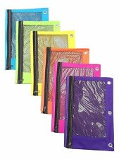 Zippered Mesh Pencil Pouch For 3pc Ring School Binders Bright Assorted Neon