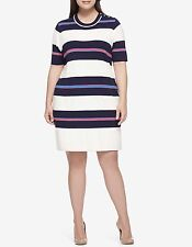 NWT TOMMY HILFIGER WOMEN MULTICOLOR STRIPE BUTTON SHOULDR SWEATER DRESS SIZE XXL