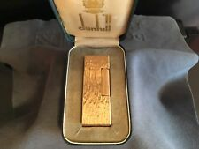 DUNHILL ROLLAGAS - GOLD PLATED - POCKET LIGHTER - 1970 -  SWISS - BOX AND PAPER