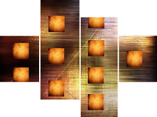 XX Large 4 Panel Set Orange Abstract Modern Home Canvas Pictures Wall Art Prints