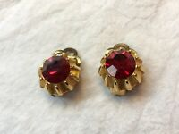 1950s Clip On Earrings Red Glass Paste Vintage Jewellery Retro