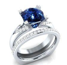 Certified 3.15Ct Blue Round Cut Diamond Engagement Wedding Ring 14K White Gold