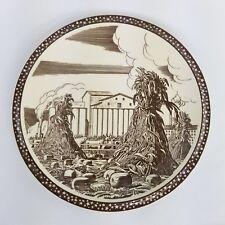 """Virnon Kilns Rockwell Kent Brown Our America Plate Cattle & Grain Farm Scene 12"""""""