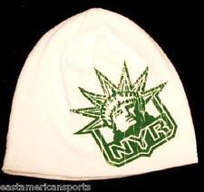 New York Rangers NHL Reebok White Green Knit Hat Cap Irish Shamrock Beanie