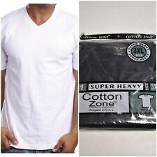 Cotton Zone Mens Heavyweight 100% Cotton V-Neck T-Shirt Black Or White S-2Xl-3Xl