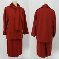Albert Nipon Women's Red 3 Piece Vintage 100% Wool Skirt Jacket Scarf Set NWT