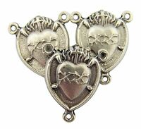 Silver Tone Sacred Heart with Our Lady Madonna Centerpiece, Set of 3, 7/8  Inch