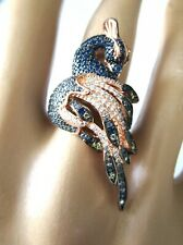 Amazing Rose Gold Plate Sterling Silver Colorful Crystal Peacock Ring Size 8