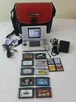 🔥Nintendo DS NTR-001 Lot w/ Charger, Case, 14 Games, Case, Headphones 🎧 🔥
