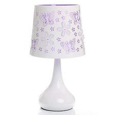 Lampe tactile Papillon Violet Abat jour et pied Métal  Chevet Touch 3 Intensités