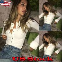 NEW Women's V-Neck Slim Blouse Sexy Crop Top Long Sleeve T-Shirt Blouse Clubwear