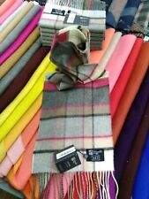 100% Cashmere Scarf | Johnstons of Elgin | Grey Pink Check | Made in Scotland