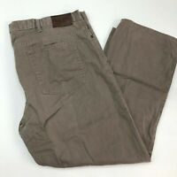 Haggar Chino Pants Mens 44X30 Brown Straight Fit Flat Front 100% Cotton Casual