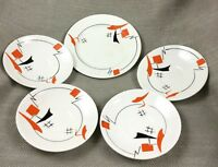 Art Deco China Plates Hand Painted Black Orange Geometric Vintage Original