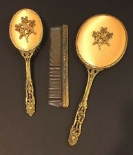 Vintage Globe 24KT Gold Plated 3 Piece Dresser Set Mirror-Brush-Comb Stunning